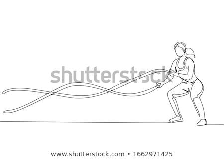 jovem · mulher · posando · boxe · suporte - foto stock © acidgrey