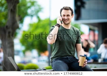 Stock fotó: Lezser · üzletember · beszél · telefon · park · pad