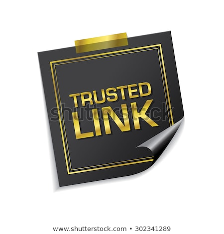 trusted link golden sticky notes vector icon design stock photo © rizwanali3d