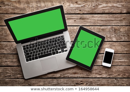 telefon · tabletta · fából · készült · munkaterület · berendezés · üres - stock fotó © unkreatives