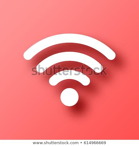 Wifi roze vector knop icon ontwerp Stockfoto © rizwanali3d
