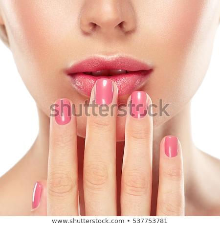 Lippenstift nagellak hand witte verf achtergrond Stockfoto © OleksandrO