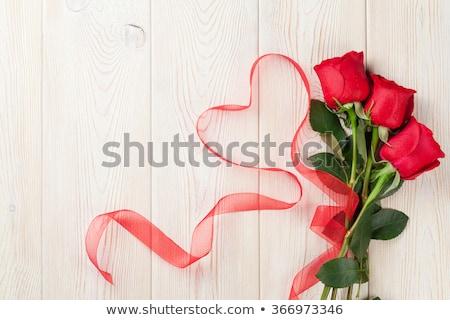 Rode rozen hart houten bloem voorjaar hout Stockfoto © Lana_M