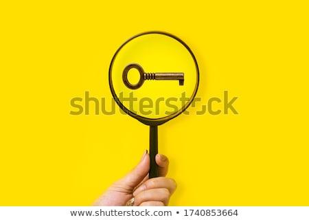 虫眼鏡 キー クローズアップ ドアの鍵 青 ビジネス ストックフォト © cosma
