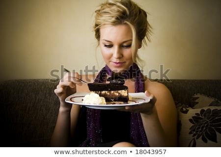 şık · kadın · yeme · kek · yalıtılmış · beyaz - stok fotoğraf © deandrobot