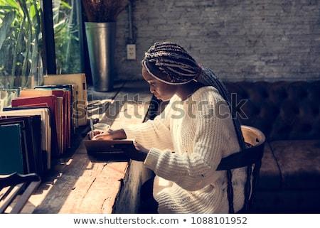 женщину · черный · стороны · лице · модель - Сток-фото © artjazz