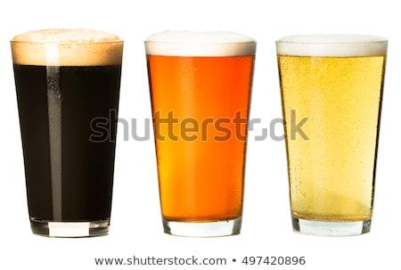 Pół kwarty szkła biały piwa pić ciemne Zdjęcia stock © Zerbor