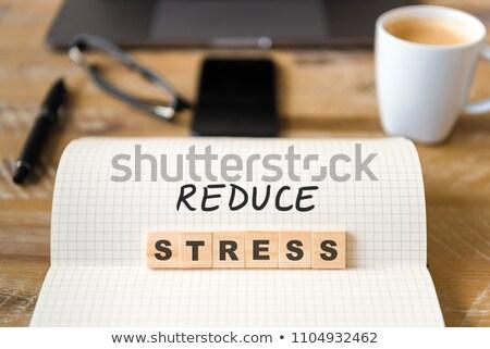 Stress segno tavolo in legno clock business ufficio Foto d'archivio © fuzzbones0