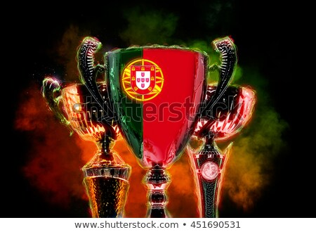 Trophy cup textured with flag of Portugal. 2D Digital illustrati Stock photo © Kirill_M