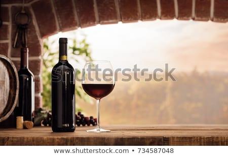 Rouge verre vin raisins table en bois boire Photo stock © Lana_M