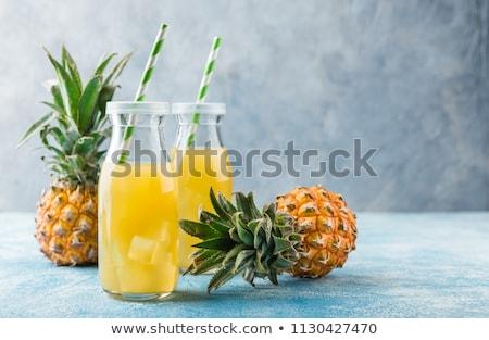 Ananász dzsúz frissítő asztal étel üveg Stock fotó © racoolstudio