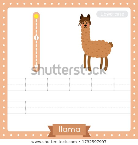 Flashcard letter L is for llama Stock photo © bluering