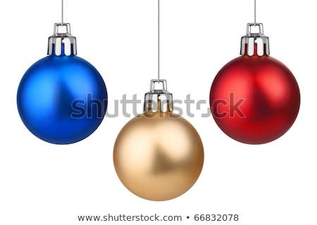 Arrangement of colorful Christmas balls on blue Stock photo © ozgur