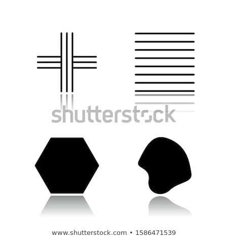Filled black geometric figures and elements with lines, polyhedr Stock photo © Vanzyst