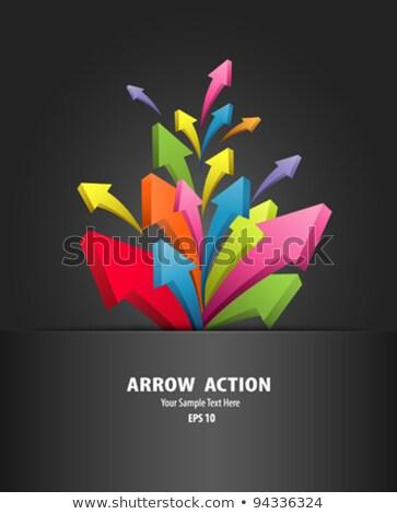 Purple Pink Arrow Style Business Brochure Design Template Stok fotoğraf © Sarunyu_foto