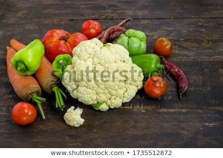Vers bloemkool tomaten hoofd houten Stockfoto © Digifoodstock