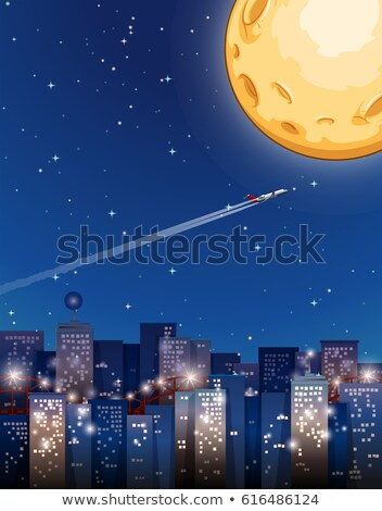 Airplane flying on fullmoon night Stock photo © bluering