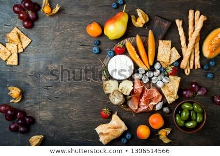 Antipasti de oliva comedor jamón melón dieta Foto stock © M-studio