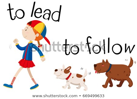 Opposite wordcard for to lead and to follow Stock photo © bluering