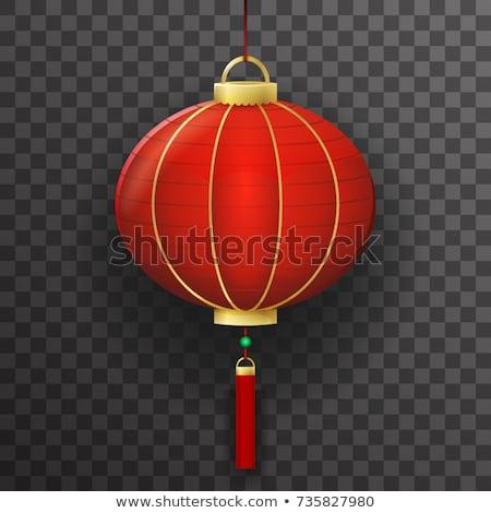 Hagyományos kínai piros papír lámpás vektor Stock fotó © TRIKONA