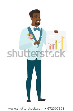 Vőlegény mutat pénzügyi diagram üzlet bemutató Stock fotó © RAStudio