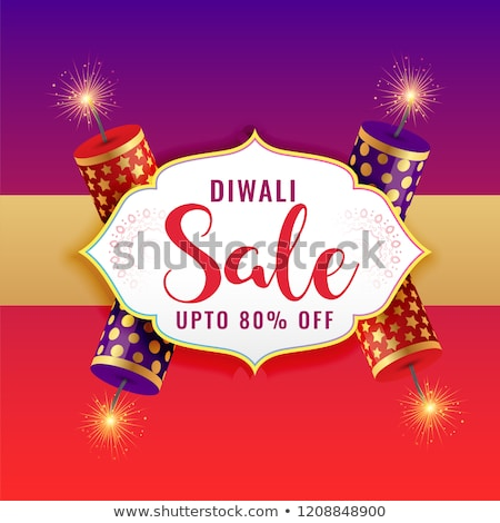 Stock photo: festival discount and sale banners for diwali with crackers