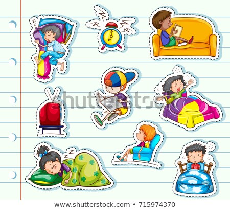Stockfoto: Sticker · ontwerp · kinderen · ontspannen · bed · sofa