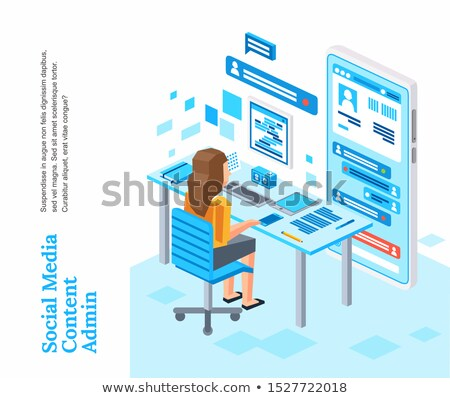 3D Businesswoman sitting in her office working with a tablet Stock photo © texelart