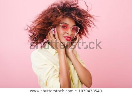 молодые Lady прослушивании музыку Сток-фото © deandrobot