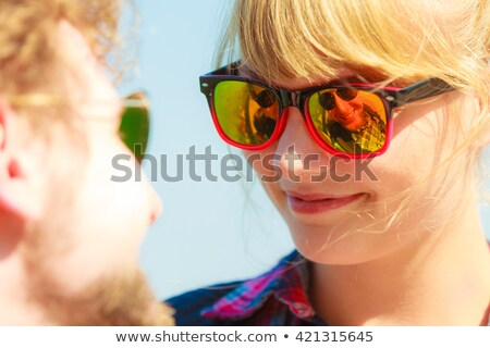 Woman with sunglasses. loving couple face intimacy in reflection Stock photo © rogistok