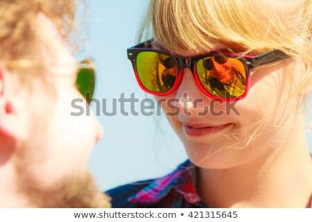 Nő napszemüveg szerető pár arc intimitás Stock fotó © rogistok