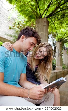 Pareja sesión mirando orientar libro arquitectura Foto stock © IS2