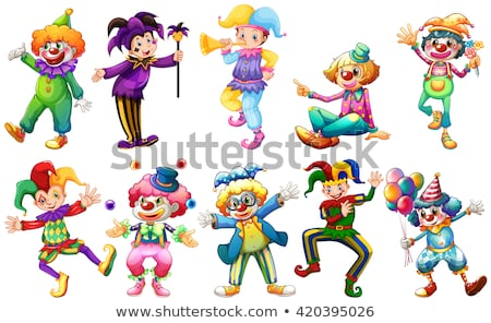 funny circus clowns cartoon characters group Stock photo © izakowski