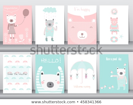 Happy Birthday Card With Kids At The Beach Vector Illustration