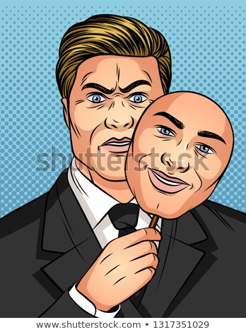Good face and evil mask. Vector illustration Stock photo © popaukropa