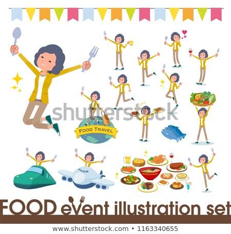 Yellow jacket Middle women_food festival Stock photo © toyotoyo