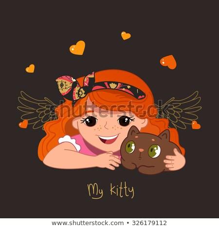Wenig Prinzessin spielen Kätzchen läuft royal Stock foto © chocolatebrandy