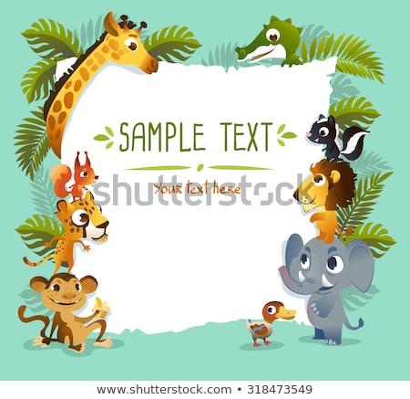 Természet állatkert sablon illusztráció erdő háttér Stock fotó © bluering