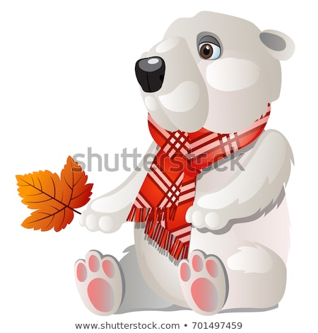 Toy white bear with red plaid scarf holding a fallen autumn leaf isolated on a white background. Vec Stock photo © Lady-Luck