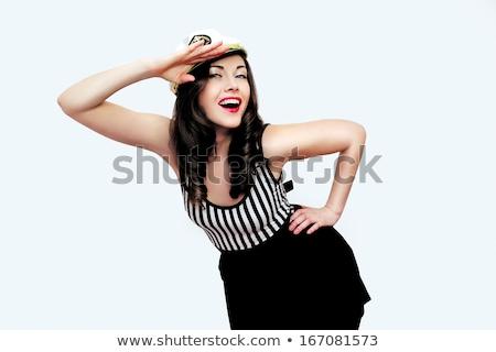 Piękna dziewczyna pinup stylu statku piękna młoda kobieta Zdjęcia stock © svetography