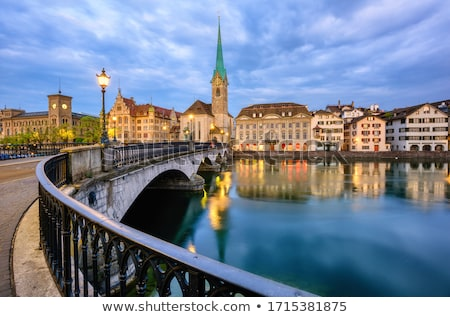 Zurich and Limmat river waterfront architecture view Stock photo © xbrchx
