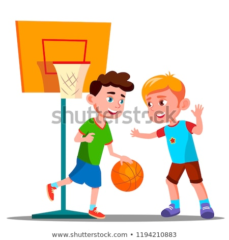 two boys playing basketball on the playground together vector summer activity isolated illustratio stock photo © pikepicture