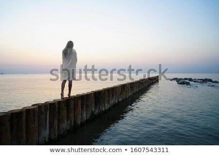 Joli pieds nus blond femme shirt posant Photo stock © acidgrey