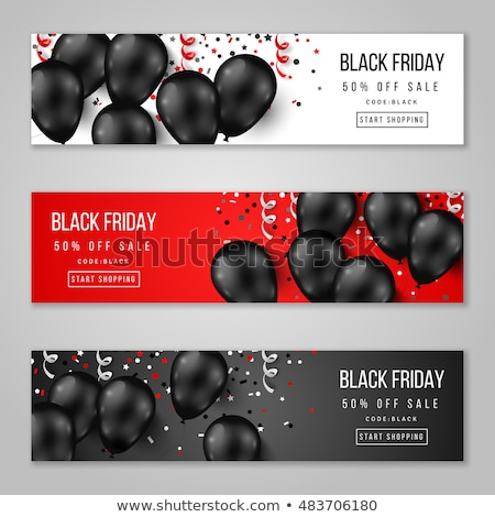 black friday sale poster with flying balloons stock photo © sarts
