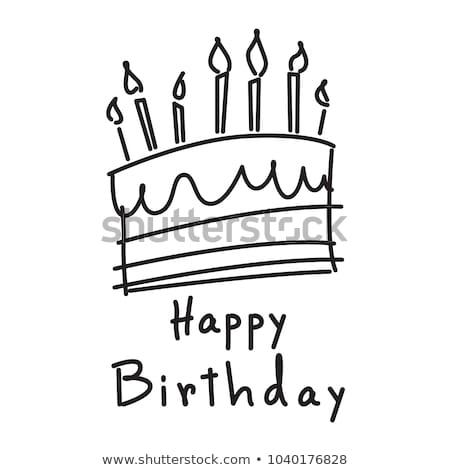 Rajz születésnapi torta felirat illusztráció tart buli Stock fotó © cthoman