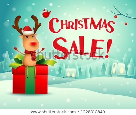 Noel satış ren geyiği oturmak hediye sunmak Stok fotoğraf © ori-artiste