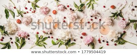 Rózsa borospoharak vörösbor szemüveg dugóhúzó kő Stock fotó © karandaev