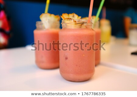Cocktail in Glass Straw and Pineapple Watermelon Stock photo © robuart