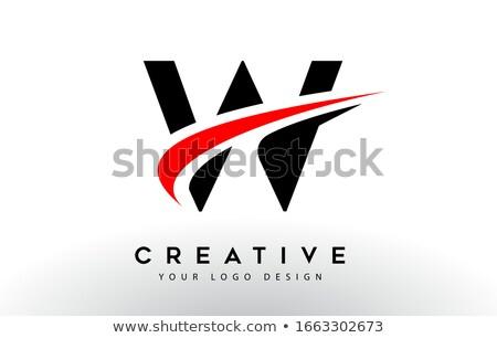 red black w logo letter icon element stock photo © blaskorizov
