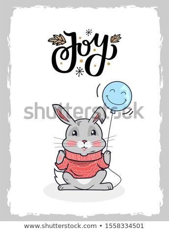Alegre Navidad postal conejo globo pata Foto stock © robuart
